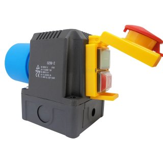 Switch / plug combination DZ08-2 230V with emergency stop flap for many stationary power tools- identical to Kedu KOA2Y