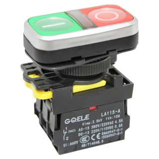 Double push button switch ON-OFF 230V with LED lighting