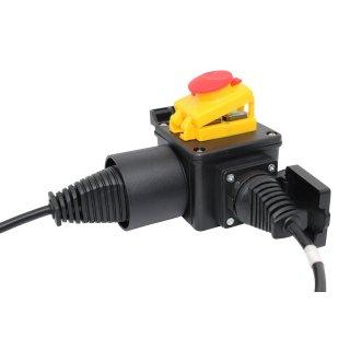 Schalter-Stecker Kombi Maschinenschalter DZ08-2 220V  mit NotAus Klappe und transprarenter Silikonhülle